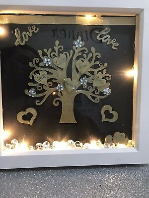 Personalised Family Tree Box Frame With Lights Christmas Gifts For Mum