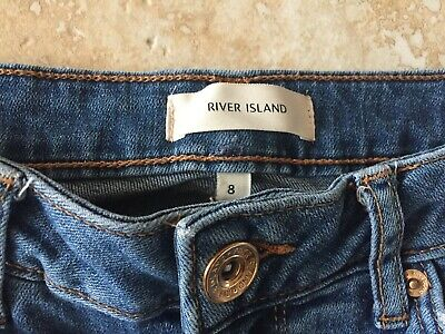 RIVER ISLAND  FADED RIPPED  SKINNY JEANS 8 8R L30 Free UK P&P