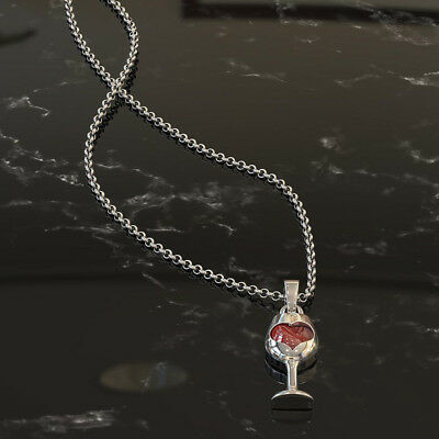 GC- Women Elegant Faux Ruby Love Heart Wine Glass Pendant Chain Necklace Jewelry