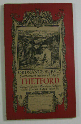 1920 Old Vintage OS Ordnance Survey Popular Edition One-Inch dis Map 76 Thetford