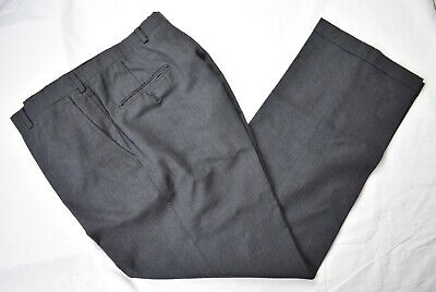 Austin Reed Dark Gray 100% Worsted Wool Dress Flat Front Trousers Size: 35x31
