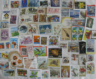 Quality World Kiloware.  550+ grams of recent foreign stamps on paper. No GB.