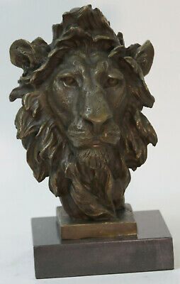 Signed Original Artwork by M.Lopez Lion Head Animal Zoo Wildlife Bronze Figurine