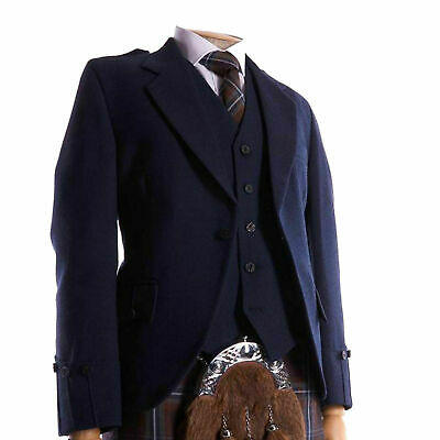 100% WOOL Argyle kilt Jacket & Waistcoat/Vest, Scottish Argyle Jacket Navy Blue