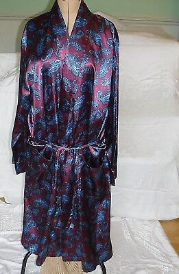 Classic Bown Of London Vintage Maroon Blue Paisley Dressing Gown L Top Quality