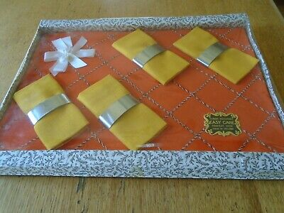 Boxed Vintage Irish Linen Tablecloth, Napkins And Napkin Rings - 1970'S