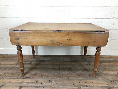 Antique Country Pine Farmhouse Table with Drop Leaf - Delivery Available