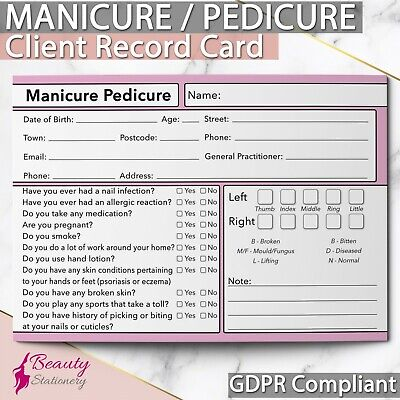 Nail Manicure Pedicure Client Record Card GDPR Compliant NEW Consultation A6