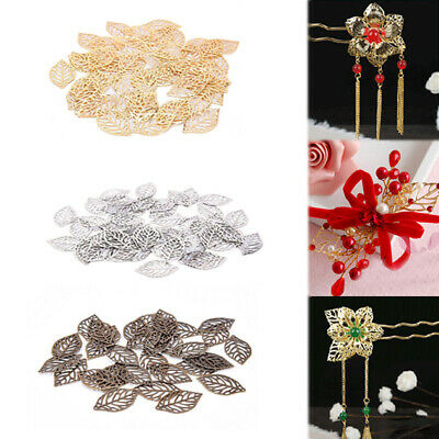 HOT 50pcs Hollow Leaves Pendant Filigree Wraps Connectors Metal Crafts Jewelry