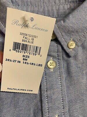 Baby Infant Ralph Lauren Chambray Button Up Shirt Oxford 6M NWT Auth Polo