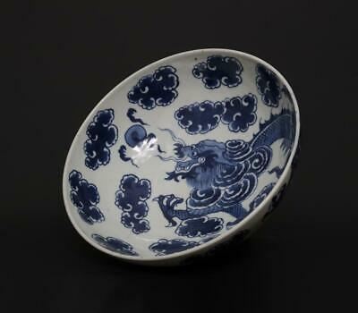Superb Antique Chinese Porcelain Blue and White Bowl With Dragon-22.5cm
