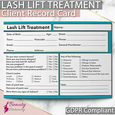 Lash Lift  Eyelash Client Record Card GDPR Compliant PREMIUM NEW Consultation A6