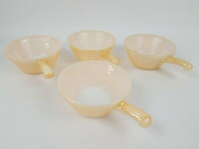 Vintage Fire King Oven Ware Handled Soup Chili Bowl Bee Hive Peach Luster set 10