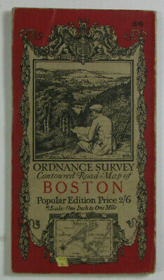 1922 Old Vintage OS Ordnance Survey Popular Edition One-Inch Map 56 Boston