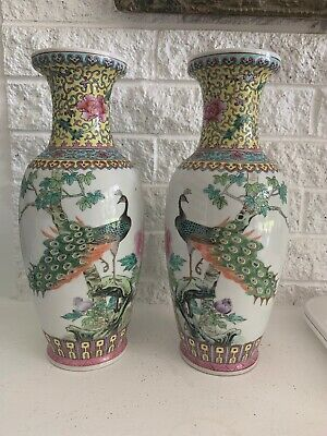Antique Pair of Chinese Beautiful Famille Rose Porcelain Flowers Peacock Vases