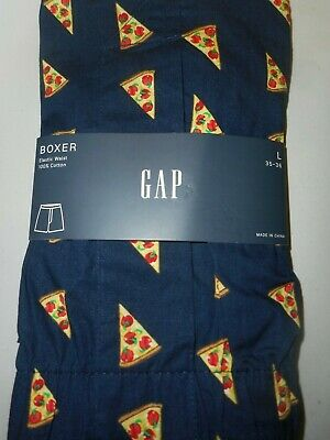 GAP NWT Men's Large 35 36 waist navy with colorful pizza slices cotton boxer
