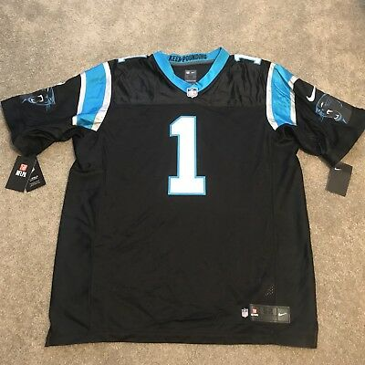 Nike Carolina Panthers Home Jersey #1 Cam Newton Nike Elite Size 52 Mens XXL