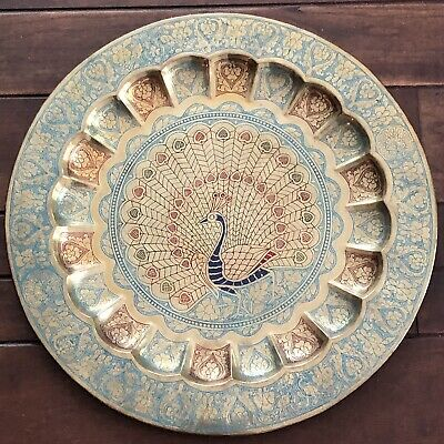 Brass Peacock Engraved Decorative Metal Plate Wall Hanging Vintage Boho Decor