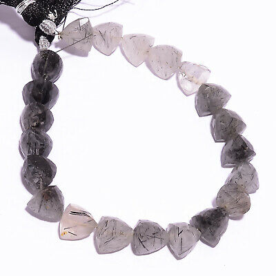 140 Ct Black Rutile Quartz Gemstone Trillion Faceted Beads Strand 11X11 mm IB-B