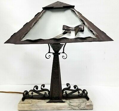 Vintage Arts & Crafts Hammered Style Table Lamp Antique 1920's Original