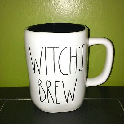 """New RAE DUNN Halloween LL """"WITCH'S BREW"""" Mug With Black Inside By Magenta"""