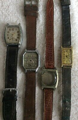 4 VINTAGE LEATHER WATCH BANDS EARLY 1900s DIALS ARE ADDED BONUS