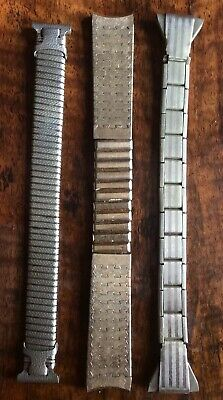 3 VINTAGE ART DECO STRETCH MENS WATCH BANDS Early 1900s