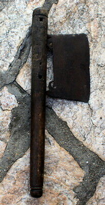 LARGE RARE ANTIQUE 18/19th.c. HAND FORGED IRON AXE # 81C