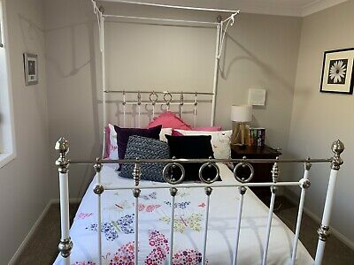 Restored antique wrough iron double bed with mattress & tester In fantastic cond