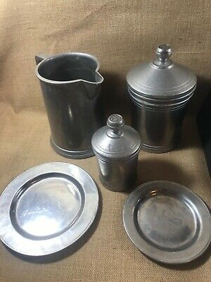 Vintage Rwp Wilton Armetale Pewter Pitcher Canisters With Lids & Plate Lot
