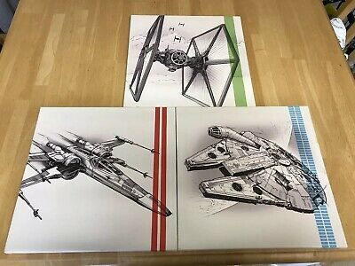Set Of 3 star wars canvas pictures X-wing TIE Fighter Millennium Falcon Licensed