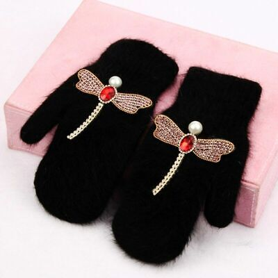 Women Winter Solid Color Gloves Dragonfly Wings Floral Decoration Girls Mittens