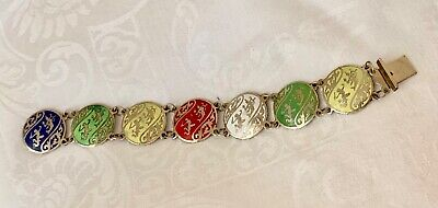 Antique Vintage Siam Sterling Silver Colorful Enamel Bracelet Dancers