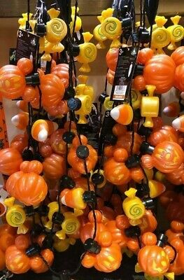 2019 Disneyland Mickey Mouse Halloween Glow Necklace Candy Corn Pumpkins Lights