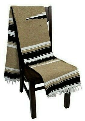 Mexican Yoga Blanket Tan Brown Grey Black White Diamond Stripe Thick Serape