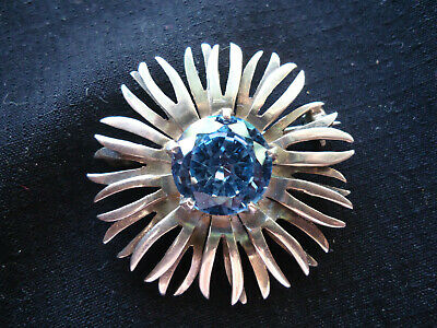 Fine Vintage Mexican Signed Sterling Silver Sunflower Pin Brooch With Topaz