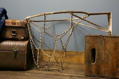 Vintage Antique Wrought Iron Basketball Goal Rim with Old Chain Net Sports Bar