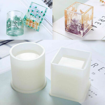 Pen Container Resin Silicone Mold Square Round Storage Holder Epoxy DIY Craft