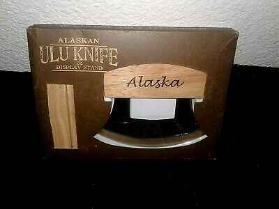 Alaskan Ulu Knife & Display Stand Made In Anchorage, USA Stainless Steel New