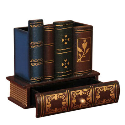 Multifunction Retro Wooden Pen Holder Book Shape Wood Craft Home Decor Penc H3H7