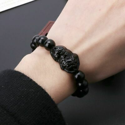 Feng Shui Obsidian Stone Wealth Pi Xiu Bracelet Attract Good Luck and Wealth