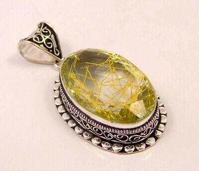 Golden Needle Rutlie .925 Silver Plated Hand Carving Pendant Jewelry JC6646