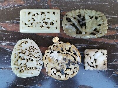 From Old Estate Antique Chinese Qing 5 White Jade Pedents Asian China