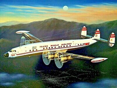 Evening Star TWA Super-G Constellation [Model 1049G] PRINT Signed by Mike Machat