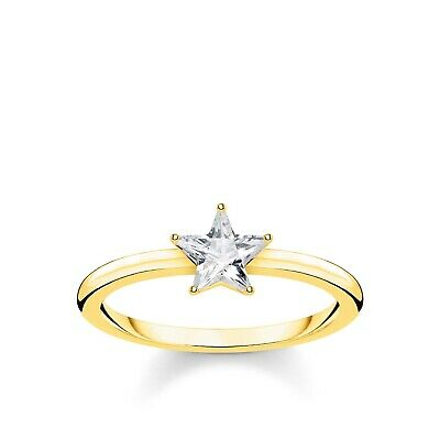 Genuine THOMAS SABO Yellow Gold Cubic Zirconia Star Solitaire Ring TR2270Y