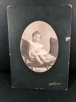 Antique Portrait Photo Young Baby Toddler Girl Chair Sitting Edwardian Victorian