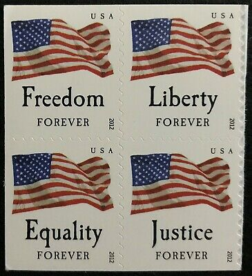 2012 Scott #4641-44 - Forever - FOUR FLAGS - Booklet Block of 4 - Mint NH
