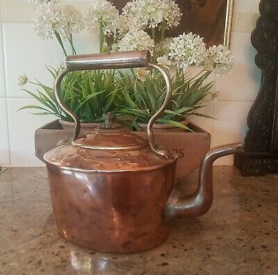 Antique large oval Victorian copper kettle
