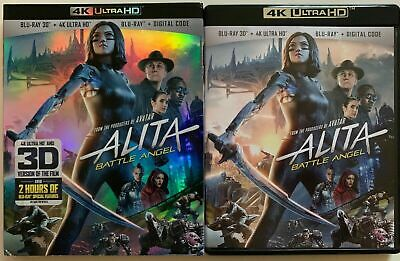 Alita Battle Angel 4K Ultra Hd 3D/2D Blu Ray 3 Disc Set + Slipcover Sleeve Buyit