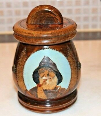 Hardwood Tobacco Jar With A hand Painted Picture Of A Fisherman c 1900.